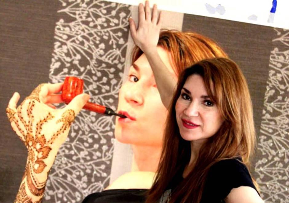 Shurooq Amin speaker, keynote speech, art paint